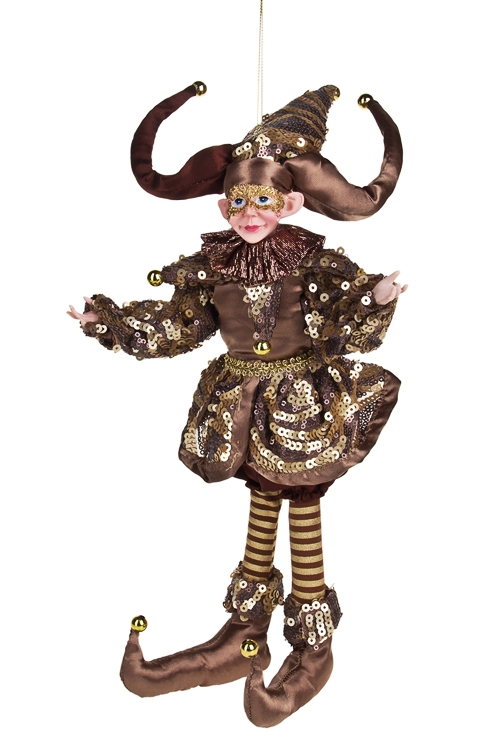 Украшение для интерьера Веселый АрлекинКуклы<br>Выс=40см, текстиль, полирезин, шоколадное, подвесное<br>