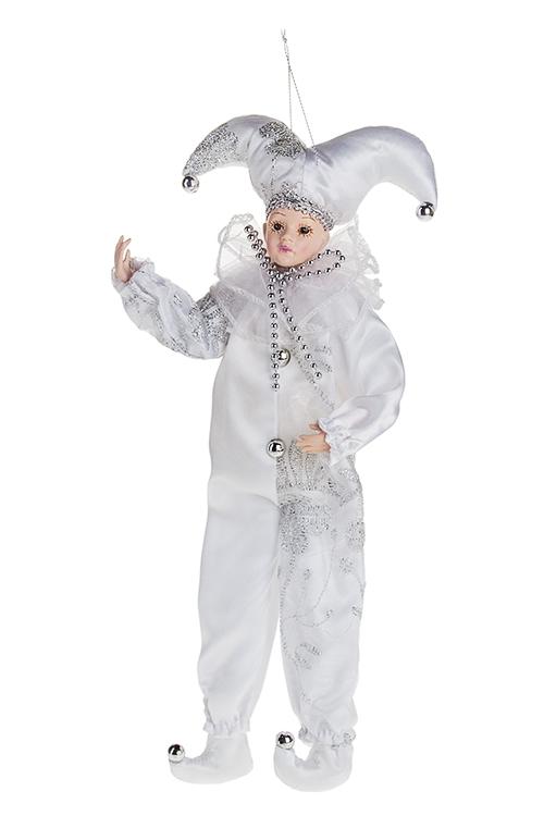 Украшение для интерьера АрлекиноИгрушки и куклы<br>Выс=35см, текстиль, полирезин, белое, подвесное<br>
