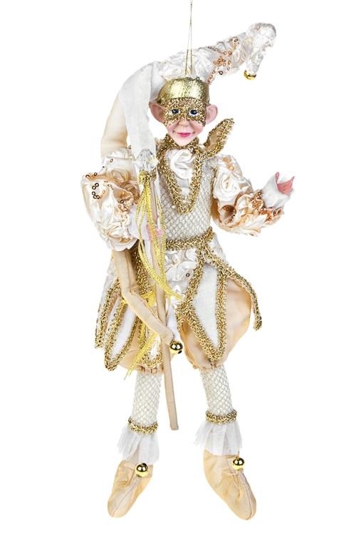 Украшение для интерьера Веселый Арлекин с жезломИгрушки и куклы<br>Выс=35м, текстиль, полирезин, крем.-золот., подвес.<br>