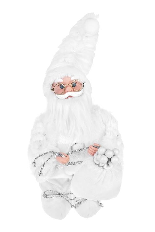 Украшение новогоднее музыкальное и двигающееся Дед Мороз с мешком подарковКуклы<br>Выс=36см, пластм., текстиль, белое<br>