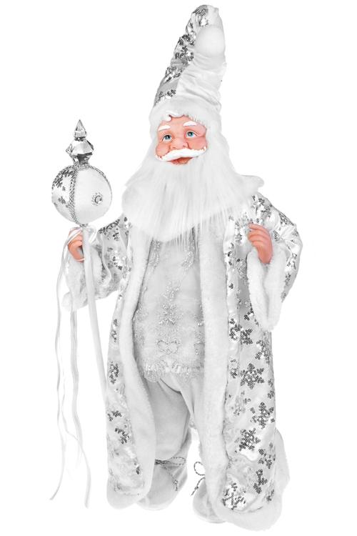 Украшение новогоднее музыкальное и двигающееся Дед Мороз с посохомИгрушки и куклы<br>Выс=66см, пластм., текстиль, бело-серебр.<br>