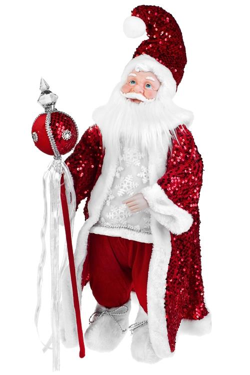 Украшение новогоднее музыкальное и двигающееся Дед Мороз с посохомКуклы<br>Выс=66см, пластм., текстиль, бело-красное<br>