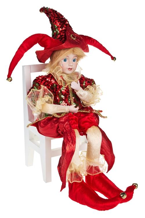 Украшение интерьер. музык.-двиг. АрлекинИгрушки и куклы<br>Выс=62см, в треуголке, текстиль, фарфор, красно-золот.<br>