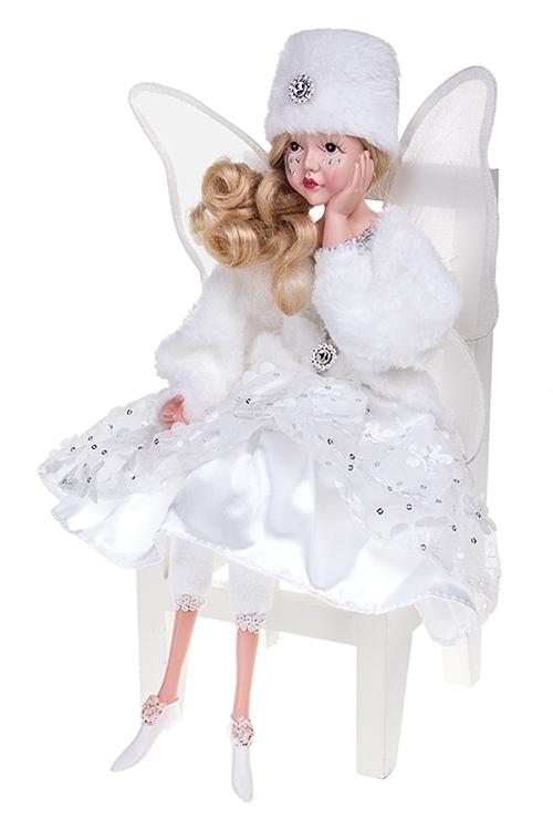 Украшение интерьер. музык.-двиг. Зимний ангелИгрушки и куклы<br>Выс=55см, текстиль, полирезин, белое<br>