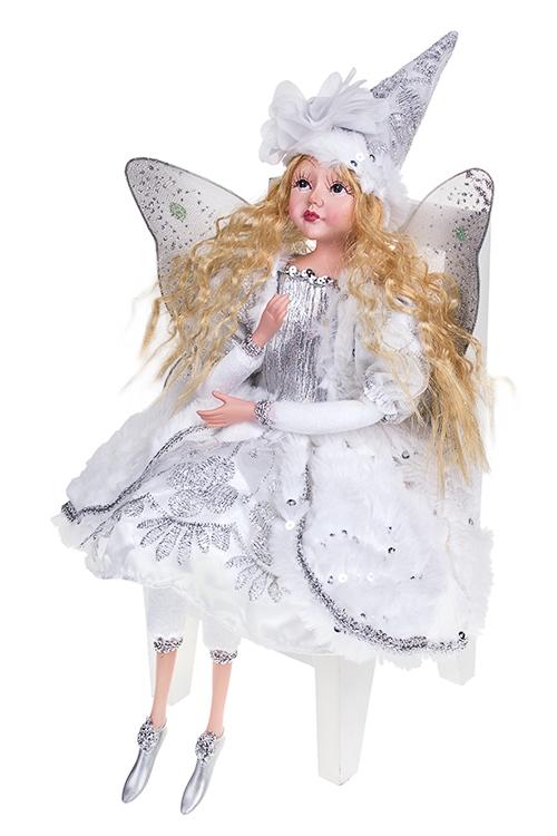 Украшение интерьер. музык.-двиг. Девочка-ангелИгрушки и куклы<br>Выс=55см, текстиль, полирезин, бело-серебр.<br>