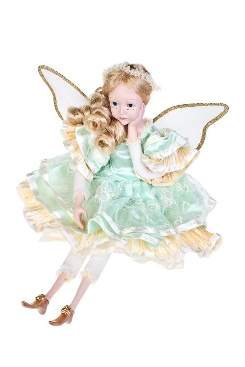 Кукла музыкальная и двигающаяся Задумчивый ангелКуклы<br>Выс=55см, полирезин, текстиль, мятно-крем.<br>