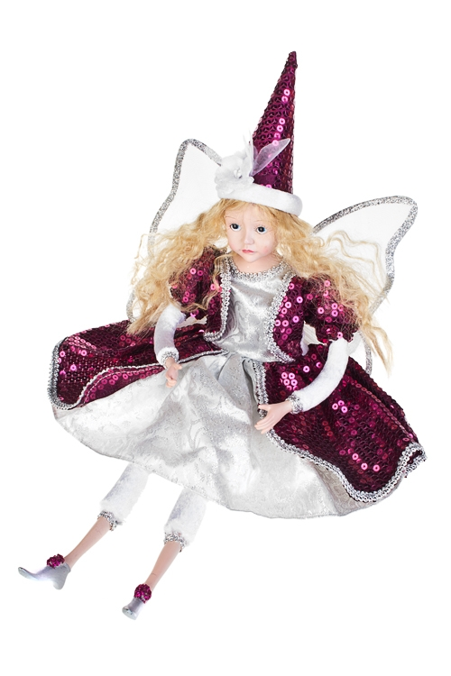 Кукла музыкальная и двигающаяся Прекрасная феяКуклы<br>Выс=55см, полирезин, текстиль, бело-вишн.-серебр.<br>