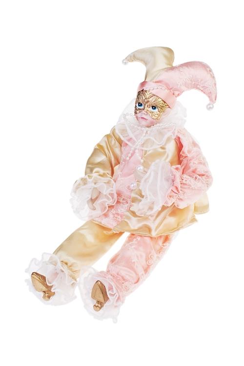 Украшение для интерьера музыкальное и двигающееся АрлекинИгрушки и куклы<br>Выс=40см, текстиль, полирезин, розово-золот.<br>