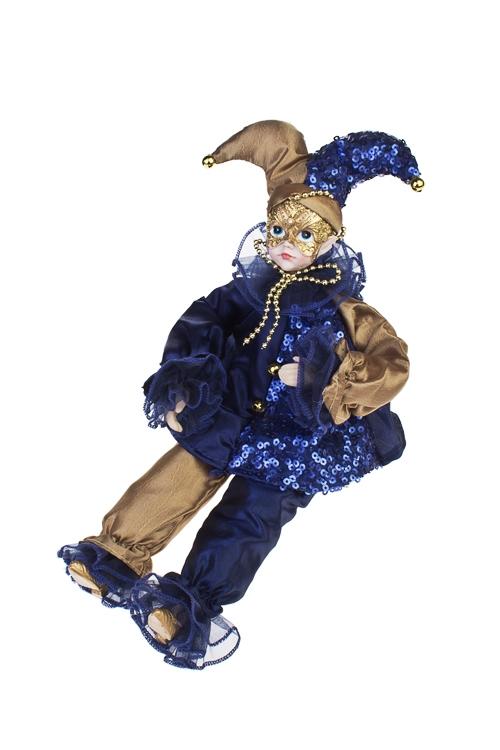 Украшение для интерьера музыкальное и двигающееся АрлекинИгрушки и куклы<br>Выс=40см, текстиль, фарфор, сине-золот.<br>