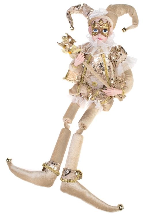 Украшение для интерьера музыкальное и двигающееся Арлекин с маскойИгрушки и куклы<br>Выс=48см, текстиль, полирезин, крем.-золот.<br>