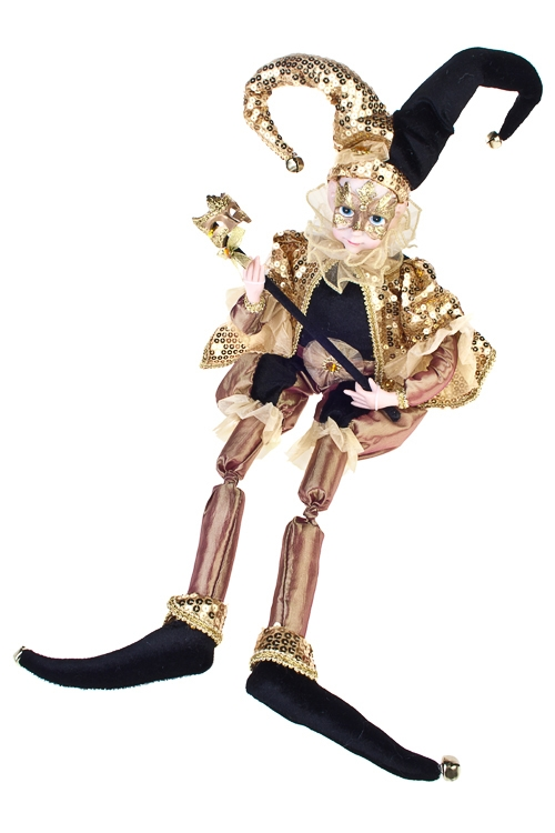 Украшение для интерьера музыкальное и двигающееся Арлекин с маскойКуклы шуты, феи и арлекины<br>Выс=48см, текстиль, полирезин, черно-золот.<br>