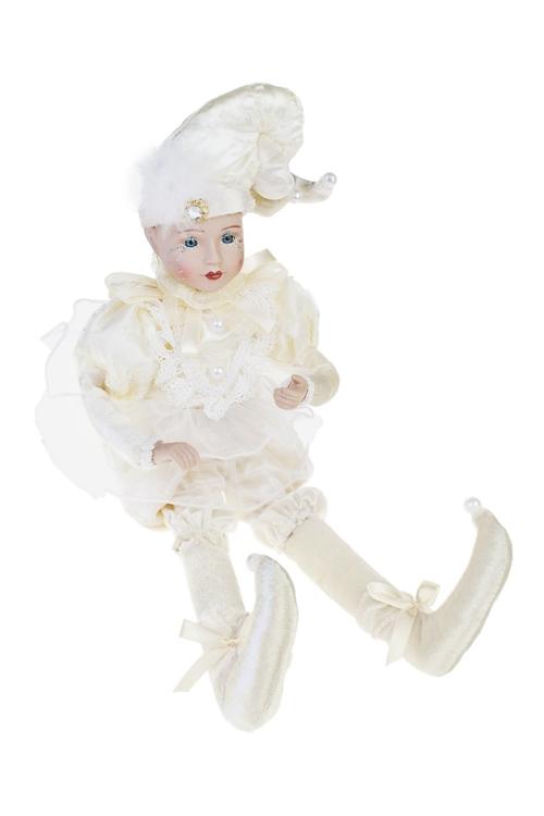 Украшение для интерьера музыкальное и двигающееся АрлекинИгрушки и куклы<br>Выс=43см, текстиль, фарфор, крем.-белое<br>