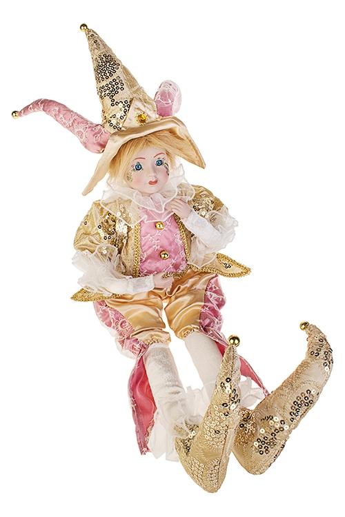 Украшение для интерьера музыкальное и двигающееся АрлекинИгрушки и куклы<br>Выс=56см, в треуг., текстиль, фарфор, крем.-тепло-роз.<br>