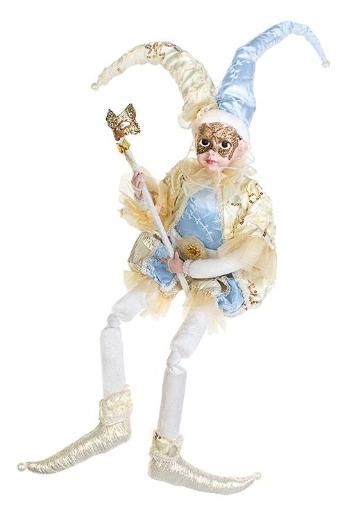 Украшение для интерьера музыкальное и двигающееся Арлекин с маскойКуклы шуты, феи и арлекины<br>Выс=48см, текстиль, полирезин, крем.-голубое<br>