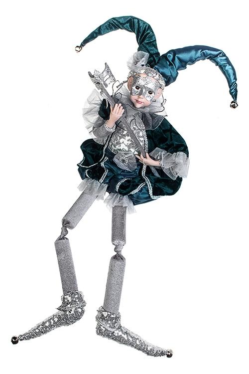 Украшение для интерьера музыкальное и двигающееся Арлекин с маскойИгрушки и куклы<br>Выс=40см, текстиль, полирезин, серебр.-изумр.<br>