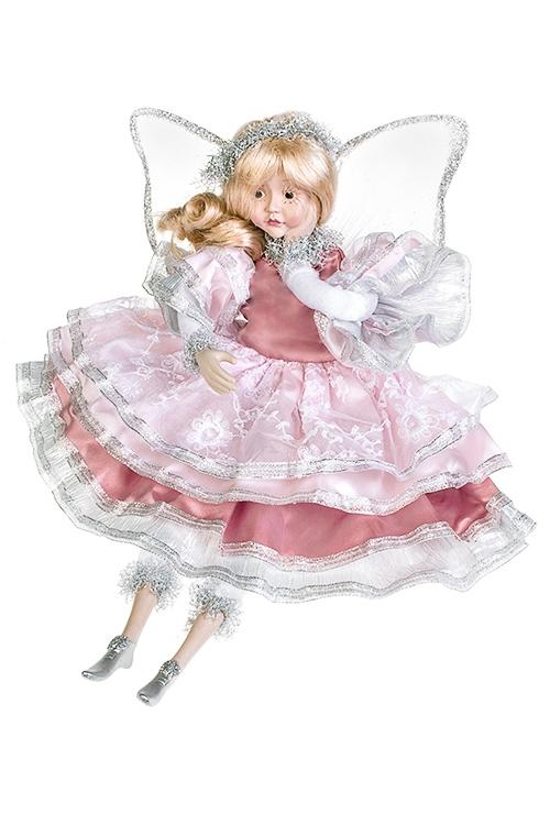 Украшение для интерьера музыкальное и двигающееся Задумчивый ангелКуклы шуты, феи и арлекины<br>Выс=45см, полирезин, текстиль, бело-розово-серебр<br>