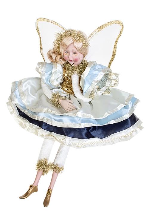 Украшение для интерьера музыкальное и двигающееся Задумчивый ангелКуклы шуты, феи и арлекины<br>Выс=45см, полирезин, текстиль, крем.-сине-голубое<br>