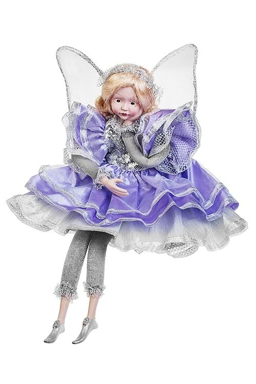Украшение для интерьера музыкальное и двигающееся Задумчивый ангелИгрушки и куклы<br>Выс=45см, полирезин, текстиль, сирен.-серебр.<br>