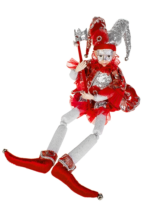 Украшение интерьерное музыкально-двигающееся Арлекин с маскойКуклы шуты, феи и арлекины<br>Выс=48см, текстиль, полирезин, красно-серебр.<br>