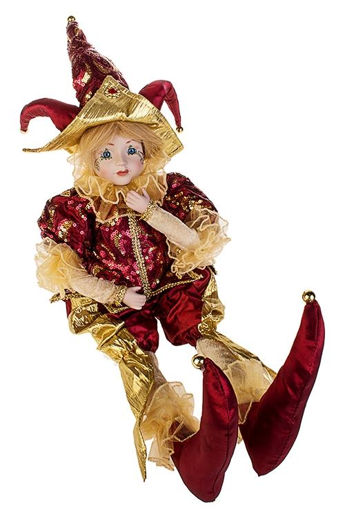 Украшение интерьерное музыкально-двигающееся АрлекинИгрушки и куклы<br>Выс=56см, в треуг., текстиль, фарфор, борд.-золот.<br>