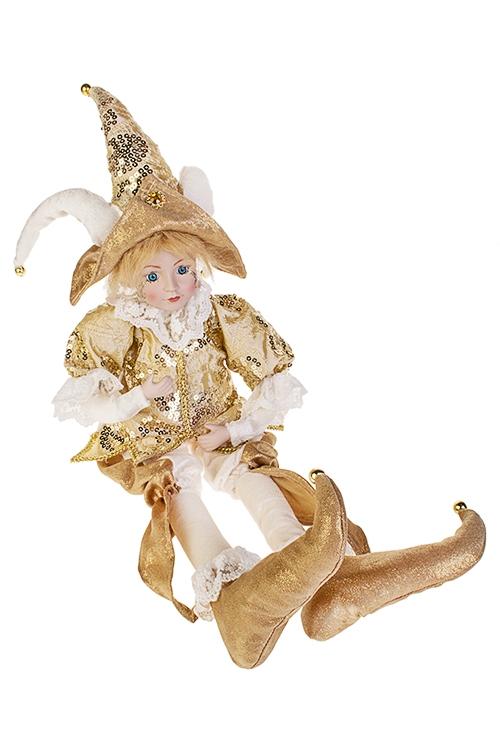 Украшение интерьерное музыкально-двигающееся АрлекинИгрушки и куклы<br>Выс=56см, в треуг., текстиль, фарфор, крем.-охра-золот.<br>
