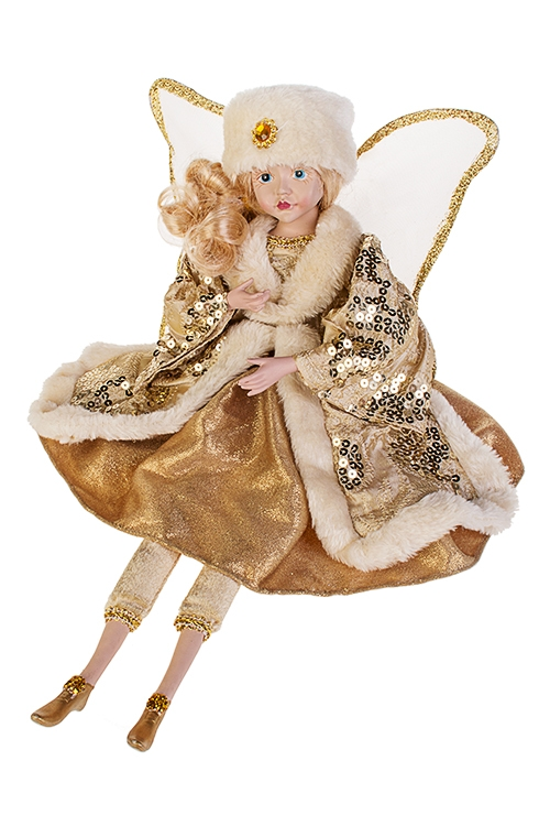Украшение интерьерное музыкально-двигающееся Зимний ангелКуклы шуты, феи и арлекины<br>Выс=45см, текстиль, полирезин, крем.-золот.<br>