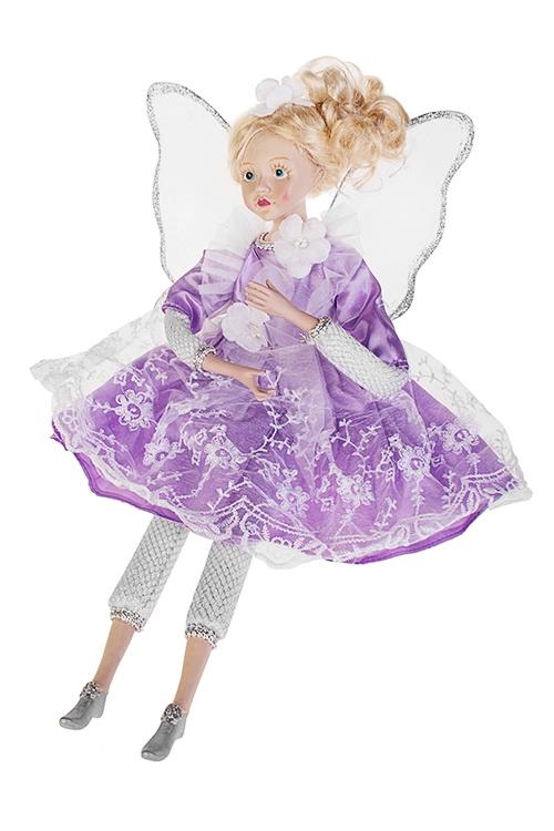 Украшение интерьерное музыкально-двигающееся Девочка-ангелИгрушки и куклы<br>Выс=45см, текстиль, полирезин, сирен.-серебр.-бел<br>