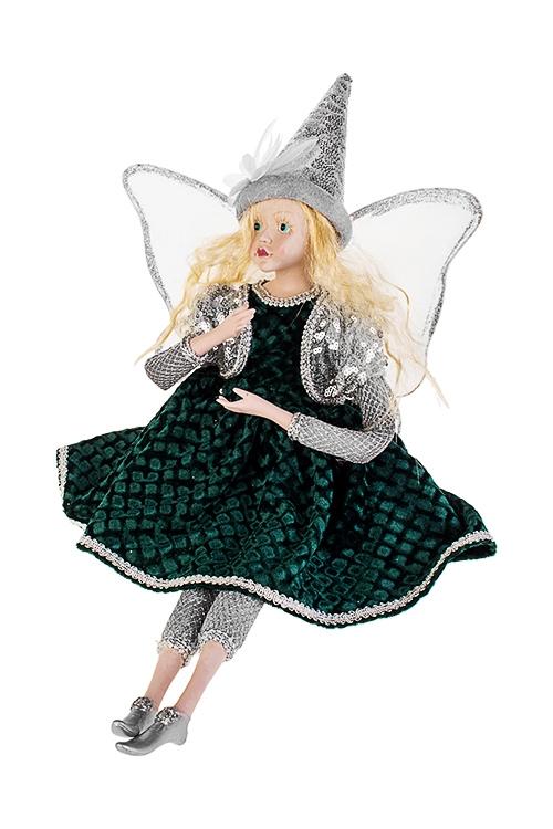 Украшение интерьерное музыкальное и двигающееся Сказочная феяИгрушки и куклы<br>Выс=55см, полирезин, текстиль, изумрудно-серебр.<br>