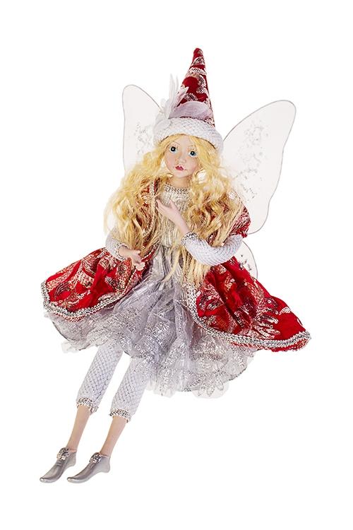 Украшение интерьерное музыкальное и двигающееся Сказочная феяИгрушки и куклы<br>Выс=55см, полирезин, текстиль, красно-серебр.<br>