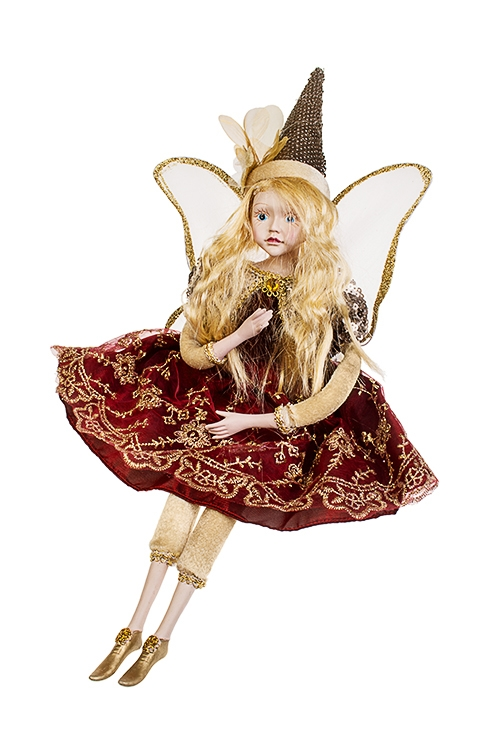 Украшение интерьерное музыкально-двигающееся Сказочная феяИгрушки и куклы<br>Выс=55см, полирезин, текстиль, борд.-коричн.-крем<br>