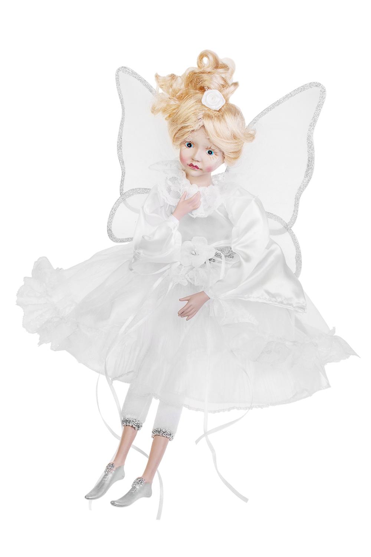 Украшение для интерьера музыкальное и двигающееся Девочка-ангелКуклы шуты, феи и арлекины<br>Выс=55см, текстиль, полирезин, белое<br>