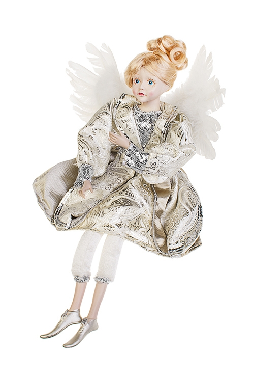 Украшение интерьерное музыкально-двигающееся Девочка-ангелИгрушки и куклы<br>Выс=55см, текстиль, перо, полирезин, крем.-серебр.<br>