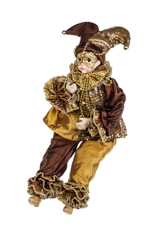 Украшение интерьерное музыкально-двигающееся АрлекинИгрушки и куклы<br>Выс=40см, текстиль, полирезин, коричн.<br>