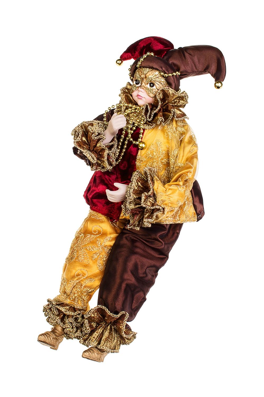 Украшение интерьерное музыкально-двигающееся АрлекинИгрушки и куклы<br>Выс=40см, текстиль, полирезин, борд.-охра-коричн.<br>
