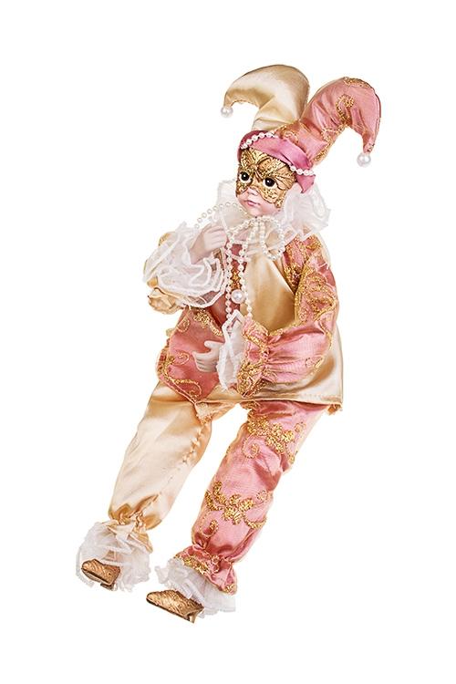 Украшение интерьерное музыкально-двигающееся АрлекинКуклы шуты, феи и арлекины<br>Выс=40см, текстиль, полирезин, розово-крем.-золот.<br>