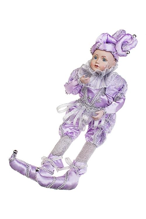 Украшение интерьерное музыкально-двигающееся АрлекинИгрушки и куклы<br>Выс=40см, текстиль, фарфор, сирен.-серебр.<br>