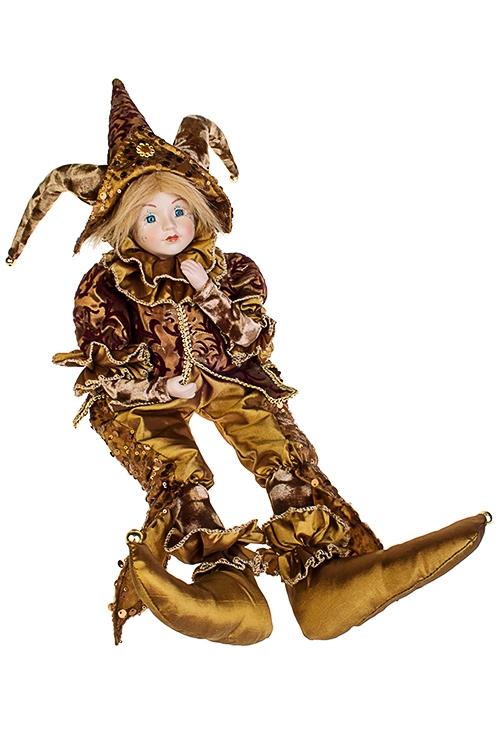 Украшение интерьерное музыкально-двигающееся АрлекинИгрушки и куклы<br>Выс=56см, в треуг., текстиль, фарфор, коричн.-борд.<br>