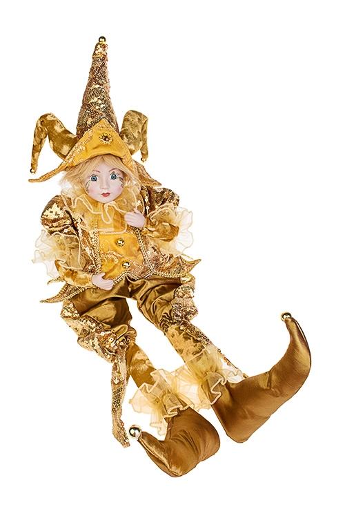 Украшение интерьерное музыкально-двигающееся АрлекинИгрушки и куклы<br>Выс=56см, в треуг., текстиль, фарфор, охра-золот.<br>