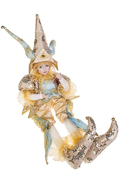 Украшение интерьерное музыкально-двигающееся АрлекинИгрушки и куклы<br>Выс=56см, в треуг., текстиль, фарфор, крем.-золот.-голуб.<br>