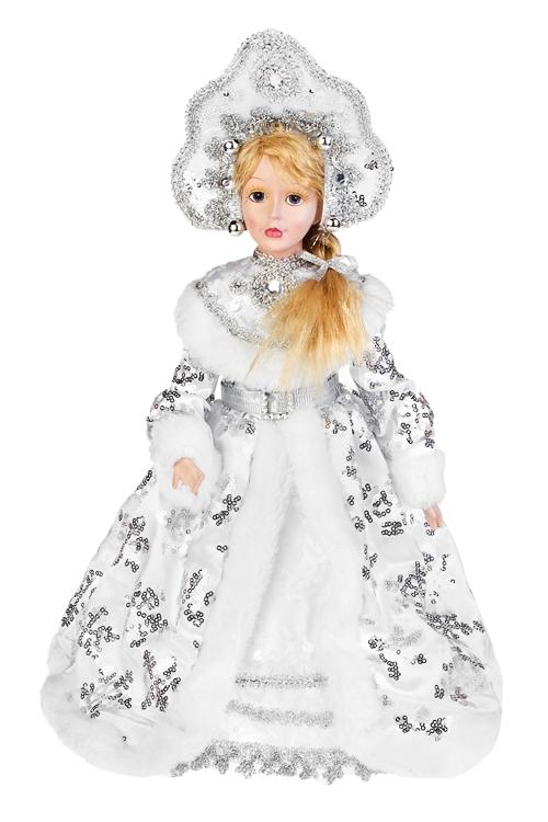 Кукла музыкальная и двигающаяся СнегурочкаИгрушки и куклы<br>Выс=35см, полирезин, текстиль, бело-серебр.<br>