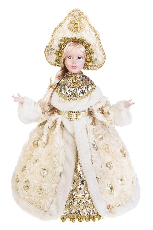 Украшение для интерьера СнегурочкаИгрушки и куклы<br>Выс=40см, текстиль, полирезин, крем.-золот.<br>