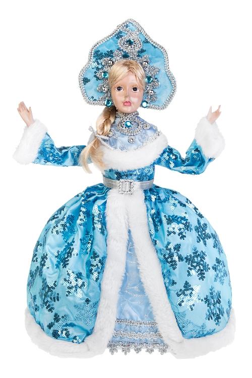 Украшение для интерьера СнегурочкаКуклы шуты, феи и арлекины<br>Выс=40см, полирезин, текстиль, бело-голубое<br>