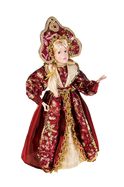 Украшение для интерьера СнегурочкаИгрушки и куклы<br>Выс=40см, полирезин, текстиль, борд.-золот.<br>