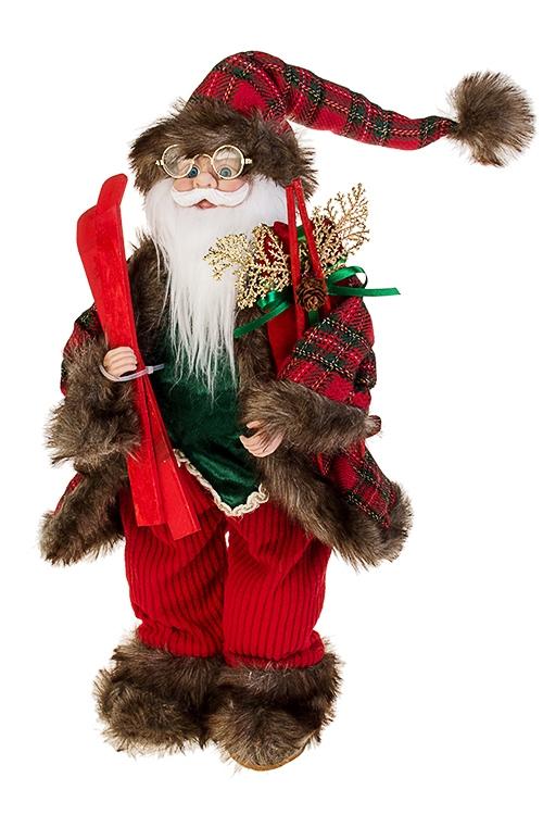 Украшение новогоднее Дед Мороз с лыжамиКуклы<br>Выс=46см, текстиль, пластм., красно-зеленое<br>