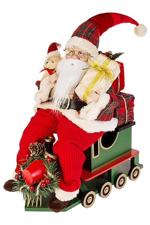 Украшение новогоднее Дед Мороз на паровозеИгрушки и куклы<br>33*18*41см, текстиль, пластм., красно-зеленое<br>