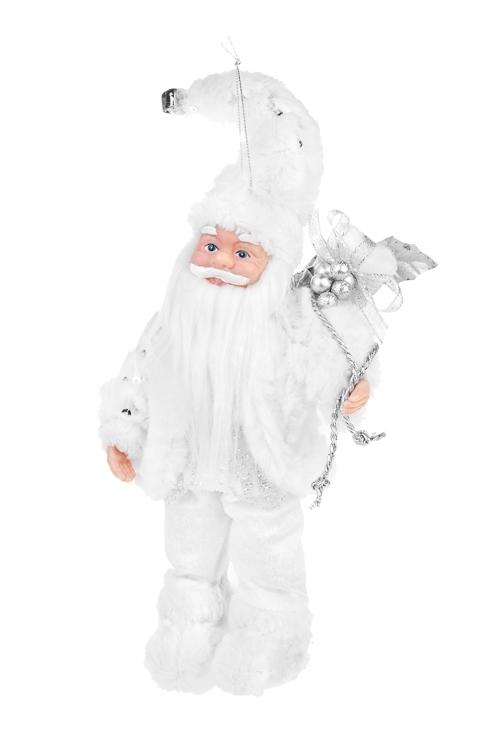 Украшение новогоднее Дед Мороз с подаркамиИгрушки и куклы<br>Выс=26см, пластм., текстиль, бело-серебр., подвесное<br>