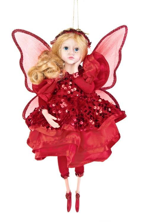 Кукла Цветочная феяИгрушки и куклы<br>Выс=31см, полирезин, текстиль, красное, подвесное<br>