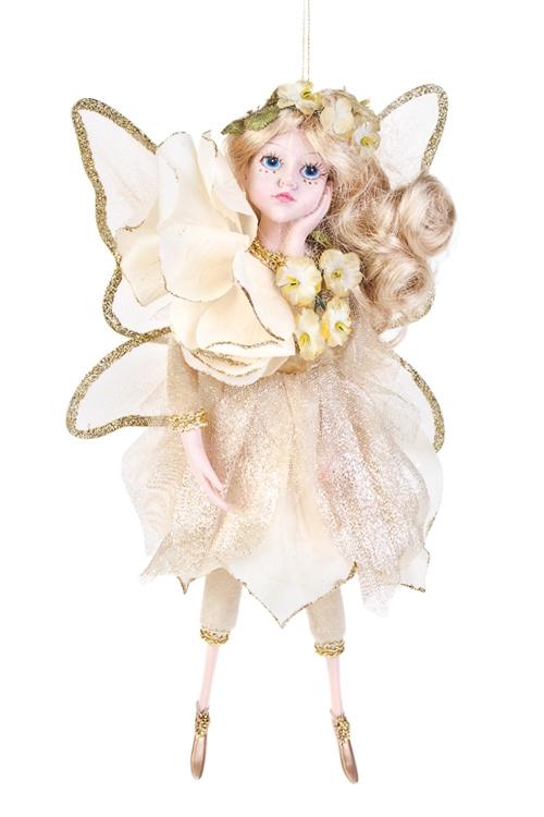 Кукла Цветочная феяИгрушки и куклы<br>Выс=31см, полирезин, текстиль, крем.-золот., подвесное<br>