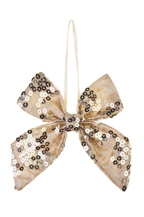 Украшение декоративное БантикСувениры и упаковка<br>10*13см, текстиль, золот., подвесное<br>