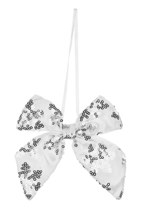 Украшение декоративное БантикДекоративные гирлянды и подвески<br>10*13см, текстиль, бело-серебр., подвесное<br>